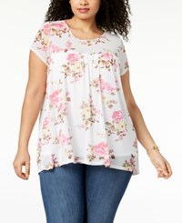 Ny Collection Plus Size Floral Print Babydoll Top Ivory Powerpetal