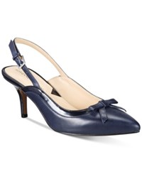 Adrienne Vittadini Simka Pointed Toe Slingback Pumps Women's Shoes Navy
