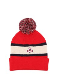 Etoile Isabel Marant Logo Two Tone Wool Knit Hat Red