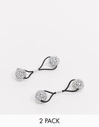 Accessorize Embellished Hair Bobbles 2 Pack Silver