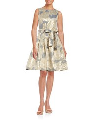 Tommy Hilfiger Sleeveless Metallic Floral Jacquard Fit And Flare Dress Midnight Gold