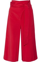 Tibi Cropped Stretch Faille Wide Leg Pants Red