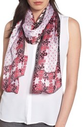 Vince Camuto Women's Floral Silk Scarf Beet Pink