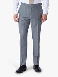 Jaeger Wool Windowpane Check Slim Fit Suit Trousers Grey