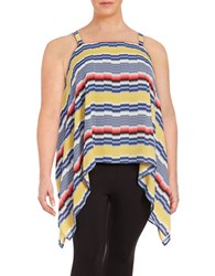 Vince Camuto Plus Striped Asymmetrical Tank Top Yellow Multi