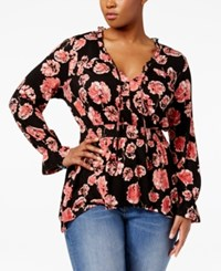 American Rag Trendy Plus Size Peplum Top Only At Macy's Classic Black Combo