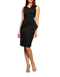 Alex Evenings Petite Ruffle Sheath Dress Black