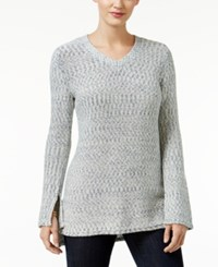 Styleandco. Style Co. V Neck High Low Sweater Only At Macy's Industrial Blue Combo