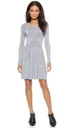 4.Collective Pleated Long Sleeve Sweater Dress Heather Gray