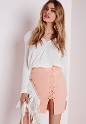 Missguided Lace Up Mini Skirt Nude Beige