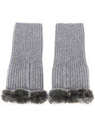 N.Peal Cashmere Fingerless Gloves Grey