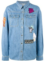 Kenzo Badges Boyfriend Denim Shirt Blue