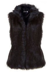 Mint Velvet Blue And Black Faux Fur Gilet Multi Coloured