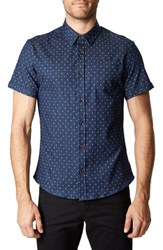 7 Diamonds Best Of Times Trim Fit Short Sleeve Sport Shirt Navy