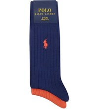 Ralph Lauren Ribbed Cotton Socks Pack Of Two Bright Navy Orange