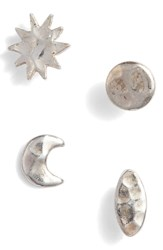 Argentovivo Argento Vivo Celestial Stud Earrings Set Silver