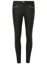 Dorothy Perkins Black Zip Coated 'Frankie' Super Skinny Jeans
