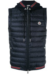 Moncler Striped Trim Hooded Waistcoat Blue