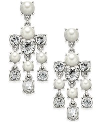 Charter Club Silver Tone Crystal And Imitation Pearl Chandelier Earrings Only At Macy's