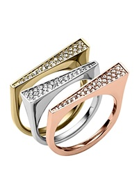 Michael Kors Pave Tri Tone Stackable Rings Set Of 3