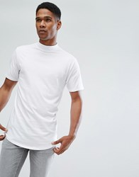 Only And Sons T Shirt With High Neck Curved Hem Details White