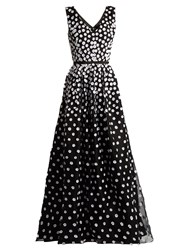 Oscar De La Renta Floral Applique Silk Organza Gown Black White