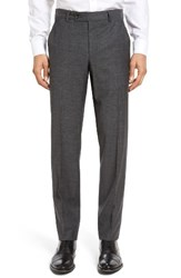 Ted Baker Men's London Jerome Flat Front Solid Wool And Cotton Trousers Charcoal