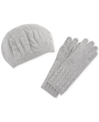 Charter Club Cashmere Cable Knit Gloves Grey