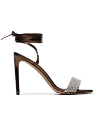 Alexandre Vauthier Bronze Kim 100 Crystal Embellished Leather Sandals Brown