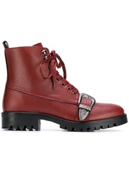 Trussardi Jeans Buckled Ankle Boots Red