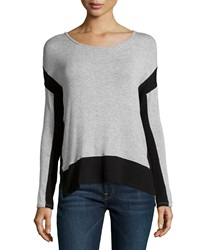 Red Haute Long Sleeve Colorblock Sweater Gray Black