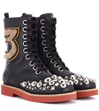 Miu Miu Embellished Leather Ankle Boots Black