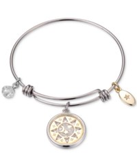 Unwritten Two Tone Sun Moon And Stars Shaker Charm Bangle Bracelet In Stainless Steel And Gold Tone Silver Yellow Gold