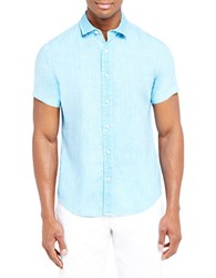 Slate And Stone Button Front Shirt Aqua
