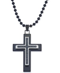 Macy's Black Diamond 1 10 Ct. T.W. Cross Necklace In Stainless Steel