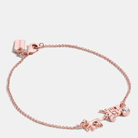 Coach Pave Horse And Carriage Chain Bracelet Rosegold