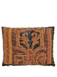 By Walid Embroidered 18Th Century Linen Cushion Dark Green