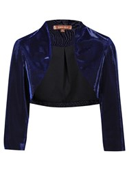 Jolie Moi Retro Metallic Bolero Jacket Royal Blue