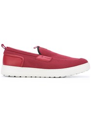 Salvatore Ferragamo Rubber Sole Slip Ons Men Lamb Skin Spandex Elastane Rubber 8.5 Red