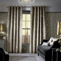 Kylie Minogue At Home Grazia Lined Eyelet Curtains Praline Neutral