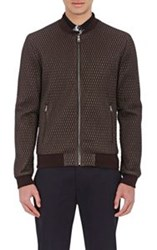 Dolce And Gabbana Men's Diamond Quilted Bomber Jacket Brown