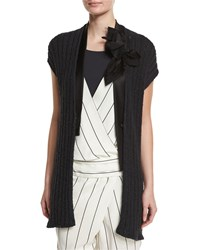 Brunello Cucinelli Cap Sleeve Paillette Ribbed Cardigan Black Women's