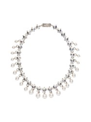 Miu Miu Crystal And Pearl Necklace Neutrals