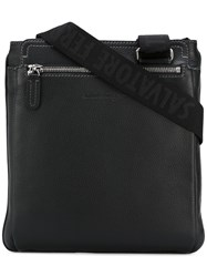 Salvatore Ferragamo Pebbled Messenger Bag Black