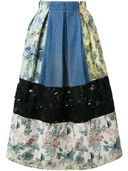 Marna Ro Patchwork Pleated Skirt Women Cotton Polyester Other Fibres S Blue