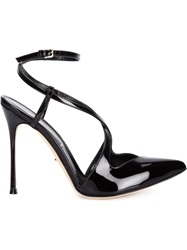 Sergio Rossi Strappy Pointed Toe Stiletto Pumps Black