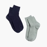 Madewell Two Pack Ribbed Heather Ankle Socks Green Navy