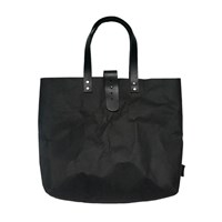 3 Wind Knots Paper Look Tote Bag With Clasp Black Black Clasp