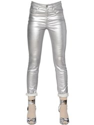 Etoile Isabel Marant Slim Fit Metallic Coated Cotton Jeans