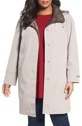 Gallery Plus Size Women's Embossed Collar Raincoat With Detachable Hood Envelope